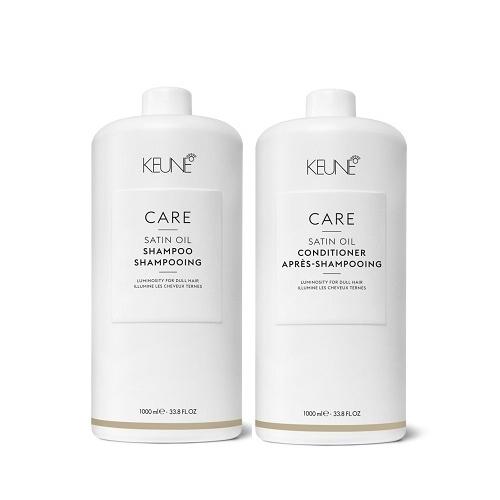 Keune Care Satin Oil rinkinys porėtų, sausų ir blizgesį praradusiems plaukams (1000 + 1000 ml) + dozatoriai