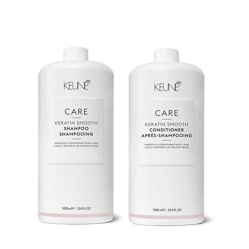 Keune Care Keratin Smoothing nepaklusnių plaukų priežiūros rinkinys (1000 + 1000 ml) + dozatoriai