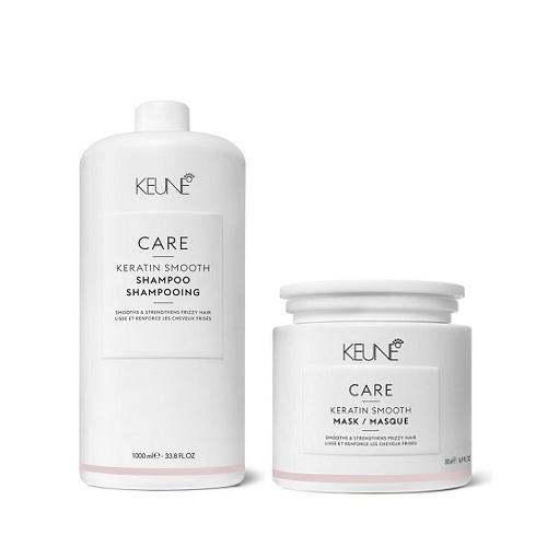 Keune Care Keratin Smoothing nepaklusnių plaukų priežiūros rinkinys (1000 + 500 ml.) + dozatorius