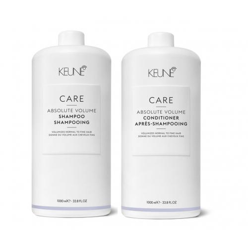 Keune Care Absolute Volume apimtį didinantis rinkinys ploniems plaukams (1000 + 1000 ml) + dozatoriai