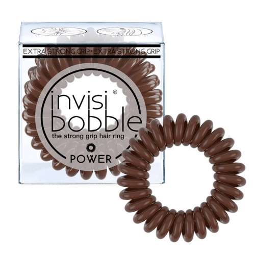 Invisibobble Power sustiprinta plaukų gumytė Pretzel Brown (3 vnt.)