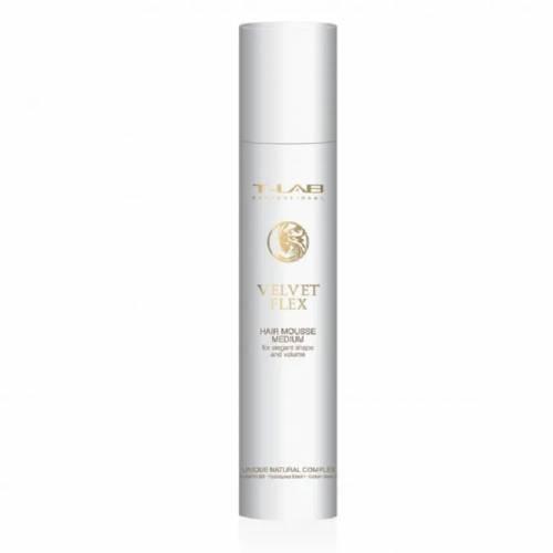 T-LAB Professional Velvet Flex Hair Mousse Medium vidutinės fiksacijos plaukų putos (100ml)