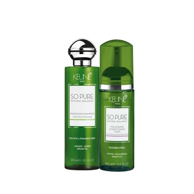 Keune So Pure energizuojantis ir plaukų apimtį didinantis rinkinys (250 + 185 ml)
