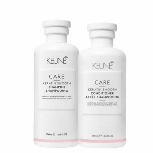Keune Care Keratin Smoothing kasdienis nepaklusnių plaukų priežiūros rinkinys (300 + 250 ml.)