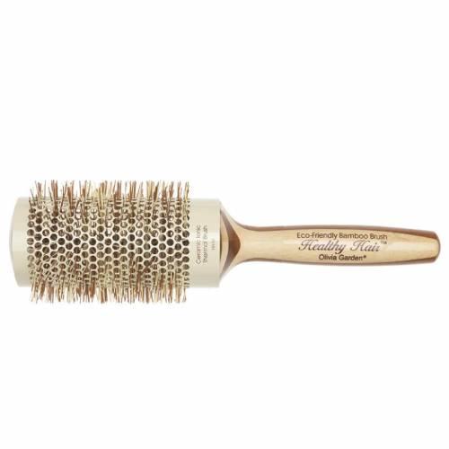 Olivia Garden Healthy Hair apvalus bambukinis šepetys jonizuotais šereliais (53 cm)