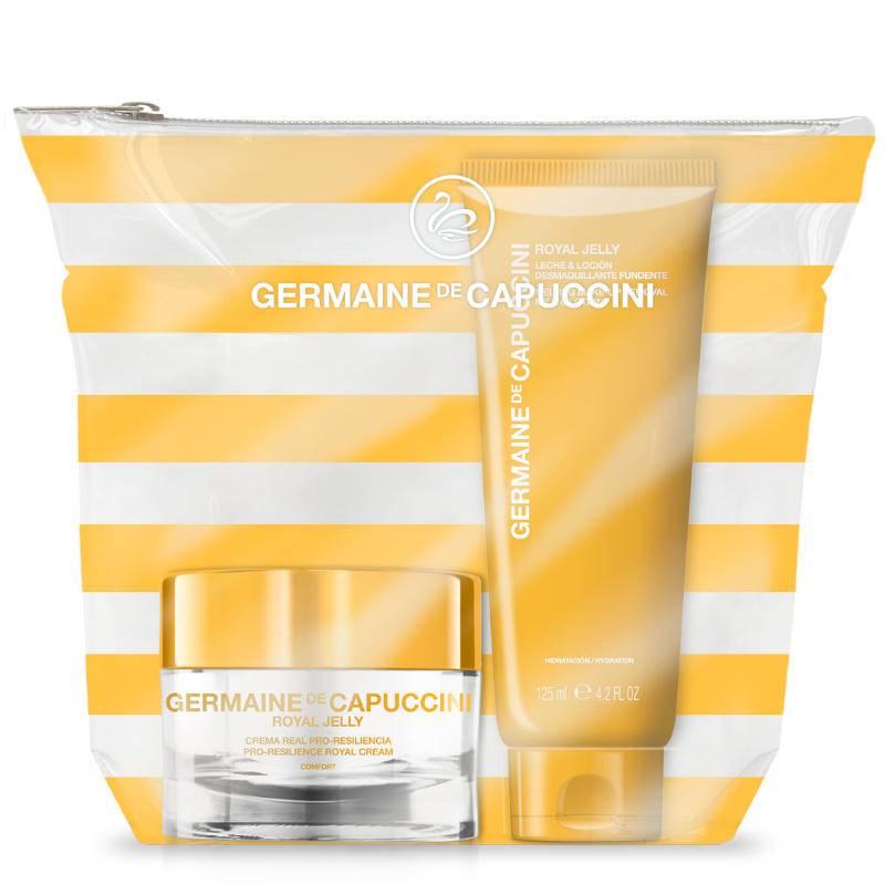 Germaine de Capuccini Royal Jelly rinkinys sausai odai - veido kremas + makiažo valiklis + kosmetinė (50 ml + 125 ml)